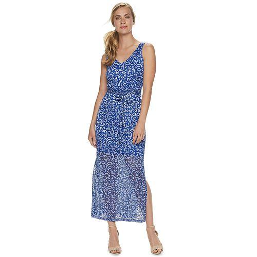 Women's Sharagano Two-Tone Lace Maxi Dress