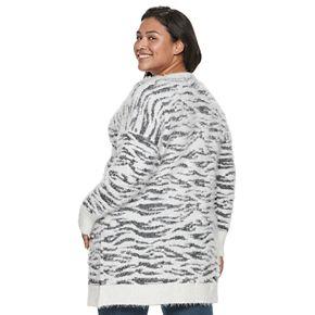 Juniors' Plus Size Mudd® Eyelash Cardigan
