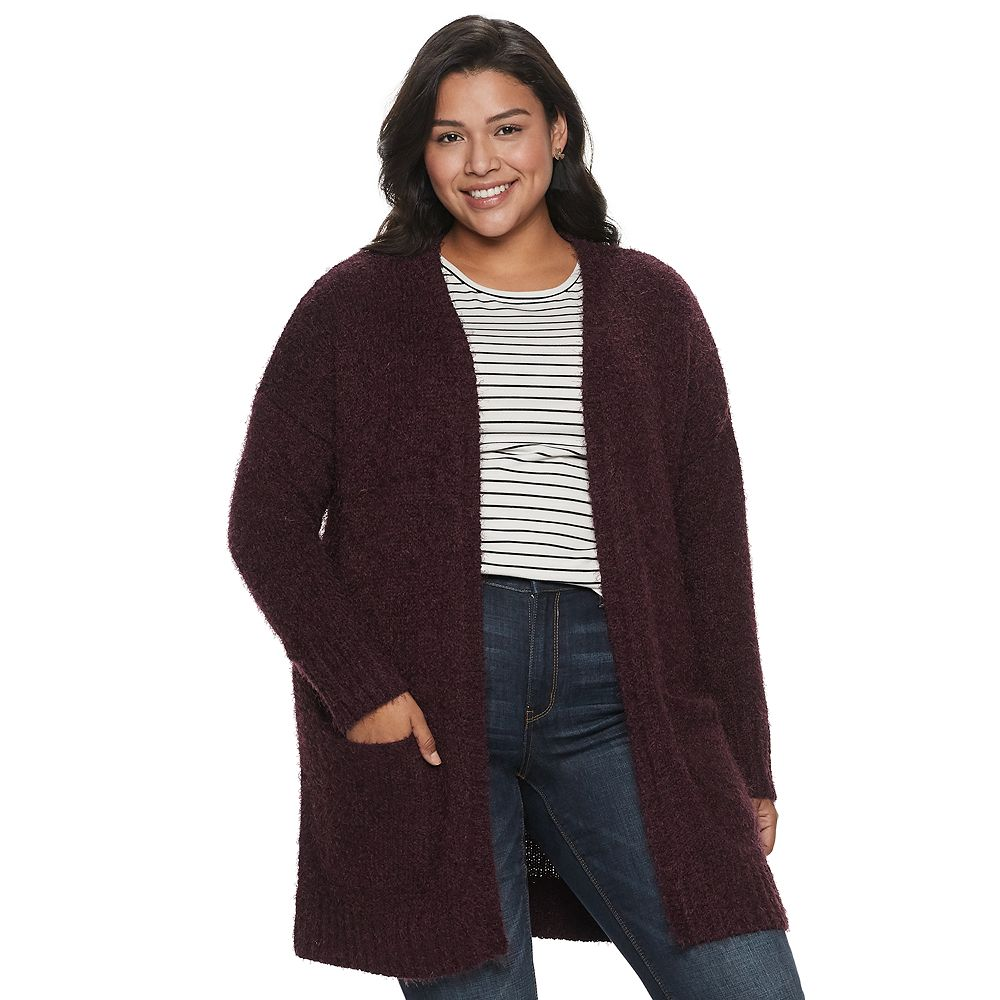 Juniors' Plus Size Mudd® Eyelash Cardigan