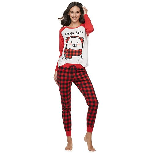 Women's Jammies For Your Families Cool Bear Top & Bottoms Pajama Set by Cuddl Duds