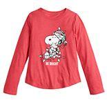 Girls 7-16 Family Fun Peanuts Snoopy Christmas Graphic Tee