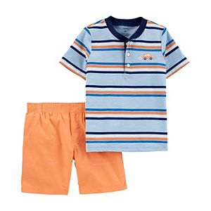Baby Boy Carter's 2 Piece Striped Slub Henley Top & Poplin Shorts Set