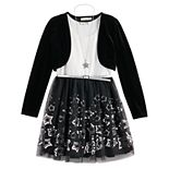 Girls 7-16 Knit Works Velvet Shrug Border Skater 2-Piece Dress Set