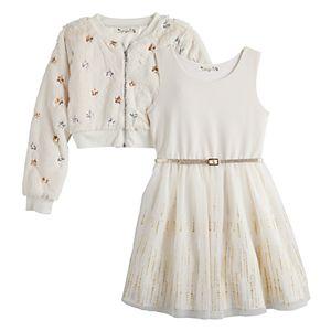Girls' 7-16 & Plus Knitworks 2-Piece Belted Skater Dress Set with Faux-Fur Jacket