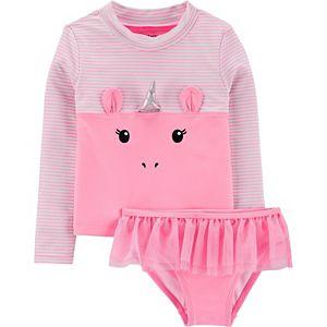 Toddler Girl Carter's Unicorn 2-Piece Rashguard Set