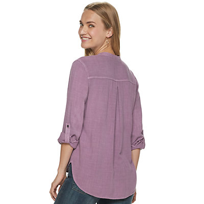 Women's Rock & Republic Collarless Drapey Roll Cuff Shirt