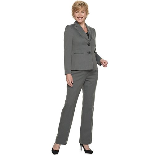 Women's Le Suit Herringbone 2-Button Jacket & Pant Suit