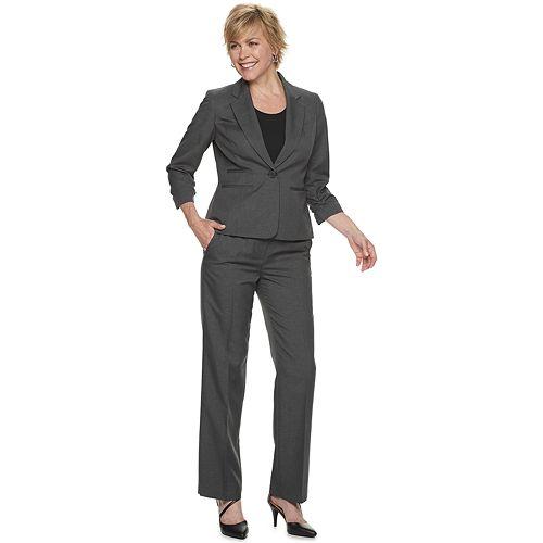 Women's Le Suit Plaid Jacket & Pant Suit