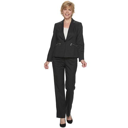 Women's Le Suit Pinstriped Jacket & Pant Suit