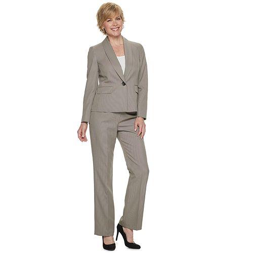 Women's Le Suit Melange Shawl Collar Jacket & Pant Suit