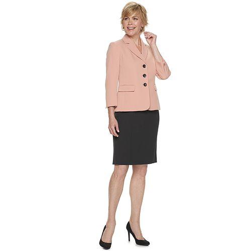 Women's Le Suit Crepe Jacket & Skirt Suit