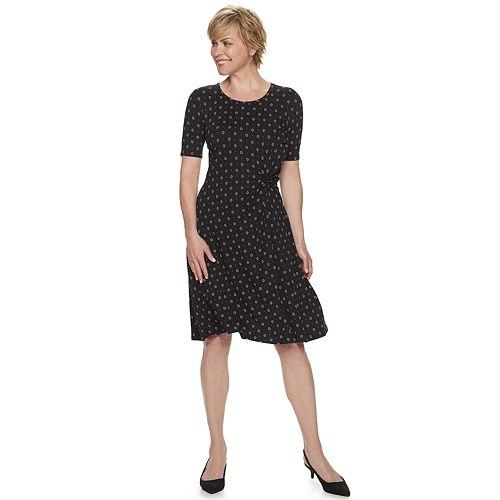 Women's Croft & Barrow® Print Knot-Front Fit & Flare Dress