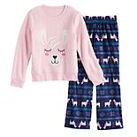 Girls' 4-14 and Plus Size SO® Cozy Sherpa Animal Pajama Set