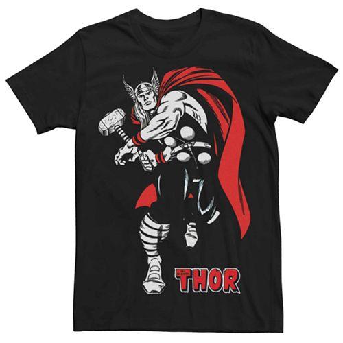 Men's Marvel's Retro Thor Stance Red Cape Tee