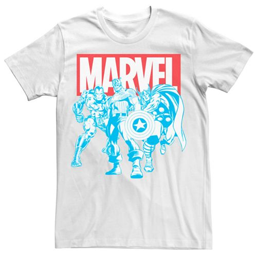 Men's Marvel Red White Blue Avengers Retro Group Shot Tee