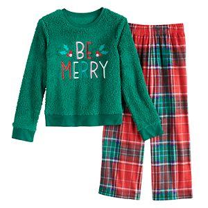 Girls 4-14 & Plus Size SO Seasonal Cozy Sherpa Pajama Set