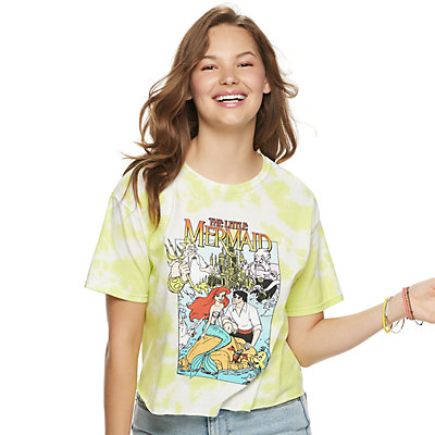 Juniors' The Little Mermaid Tie Dye Crop Tee