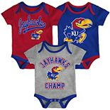 Baby Kansas Jayhawks Champ 3-Pack Bodysuit Set