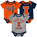 Baby Illinois Fighting Illini Champ 3-Pack Bodysuit Set
