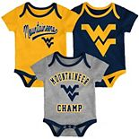 Baby West Virginia Mountaineers Champ 3-Pack Bodysuit Set