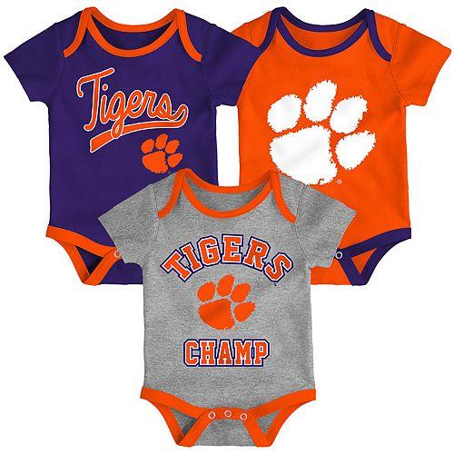 Baby Clemson Tigers Champ 3-Pack Bodysuit Set