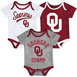 Baby Oklahoma Sooners Champ 3-Pack Bodysuit Set