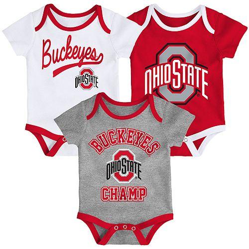 Baby Ohio State Buckeyes Champ 3-Pack Bodysuit Set