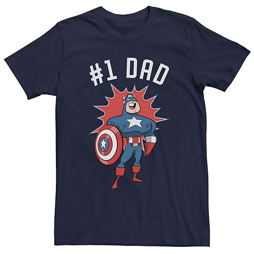 Men's Marvel Captain America #1 Dad Cartoon Style Tee