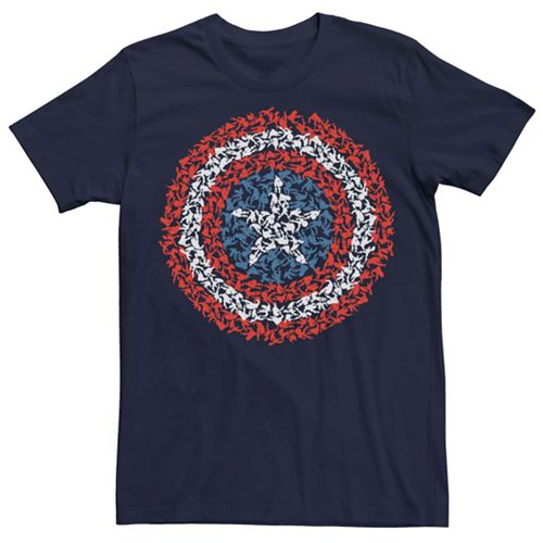 Juniors' Marvel's Captain America Shield Build Up Fill Tee