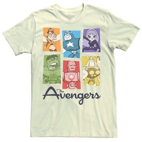 Men's Marvel Avengers Cartoon Style Group Colors Tee