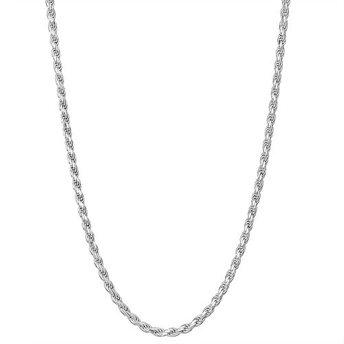 """Charming Girl Sterling Silver 13-15"""" Adjustable Diamond Cut Rope Chain Necklace"""
