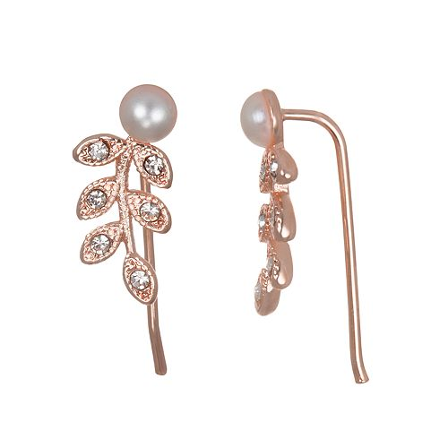 LC Lauren Conrad Rose Gold Toned Branch Earrings