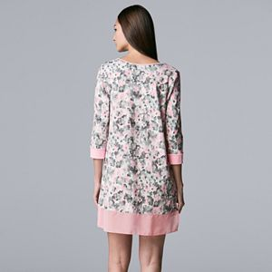 Women's Simply Vera Vera Wang Missy Cozy Jersey 3/4 Sleeve Sleep Shirt With Chiffon Trim