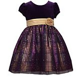 Baby Girl Bonnie Jean Stretch Velvet and Plaid Taffeta Empire Dress