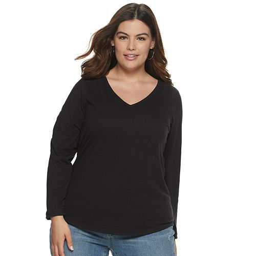 Plus Size EVRI Long Sleeve V-Neck Top