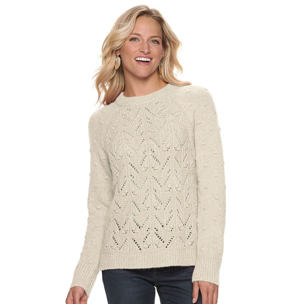 Women's SONOMA Goods for Life® Mixed-Stitch Crewneck Sweater