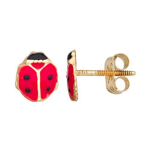 Charming Girl 14k Gold Enameled Red Ladybug Stud Earring