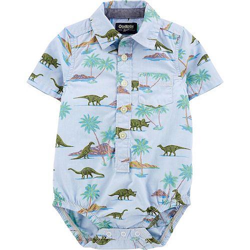Baby Boy OshKosh B'gosh® Dinosaur Print Button-Front Romper