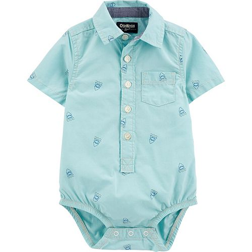 Baby Boy OshKosh B'gosh® Shark Print Button-Front Romper