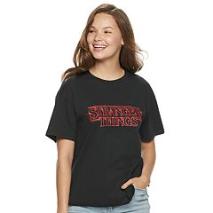 ca86861db289 Group Poster Tee Shirt. Juniors' 'Stranger Things' Neon Logo ...