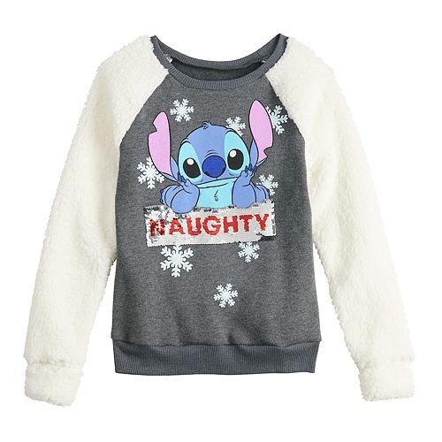 "Disney's Lilo & Stitch Girls 7-16 ""Naughty or Nice"" Flippy Sequin Sweatshirt"
