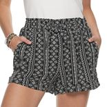 Juniors' Joe B Printed Rayon Gauze Paperbag Tie Waist Shorts
