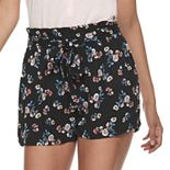 Juniors' Joe B Printed Rayon Gauze Paperbag Tie Waist Shorts