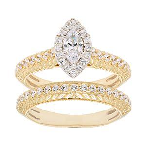 14k Gold 1 Carat T.W. IGL Certified Diamond Halo Engagement Ring Set