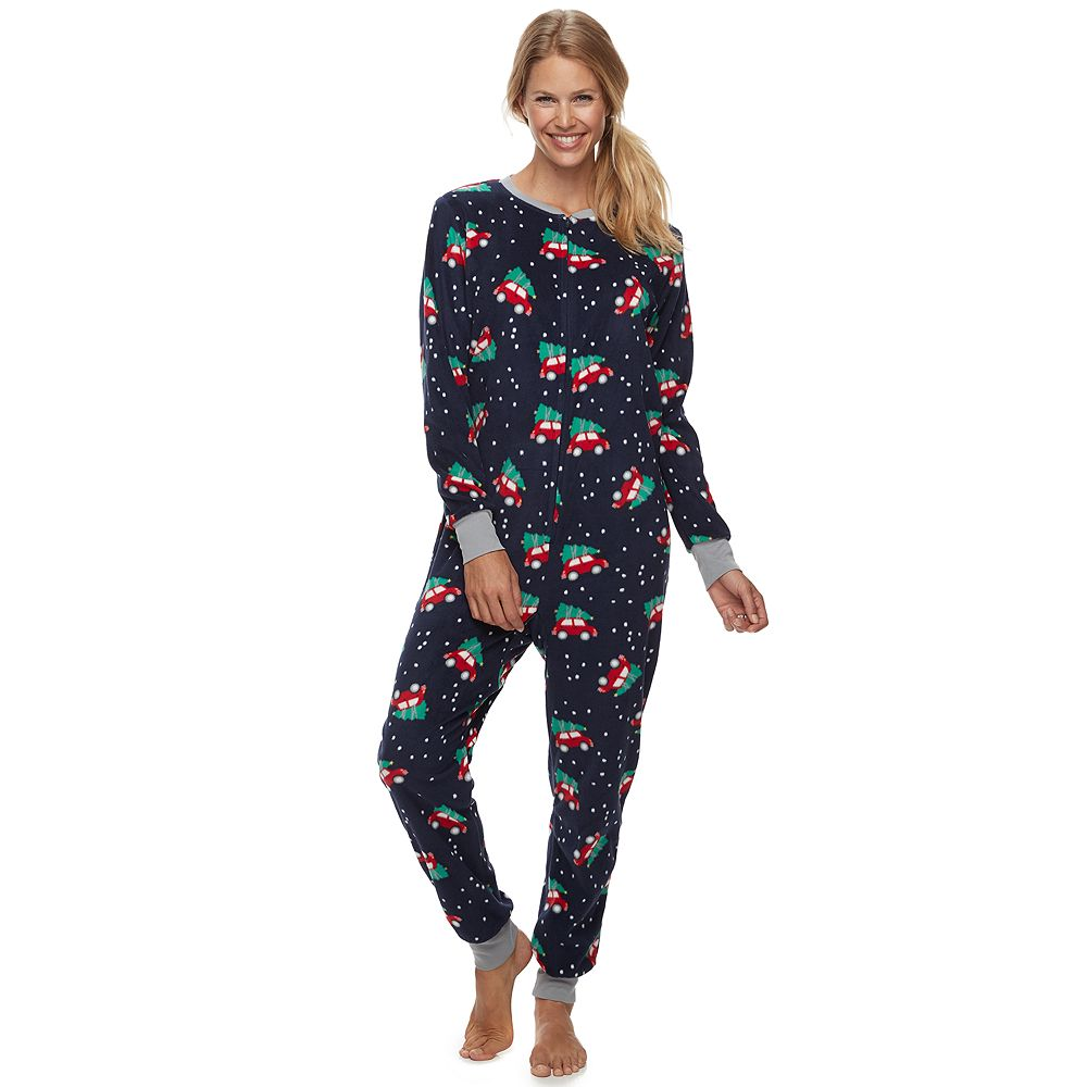 Women's Jammies For Your Families® Home For The Holidays Microfleece One-Piece Pajamas