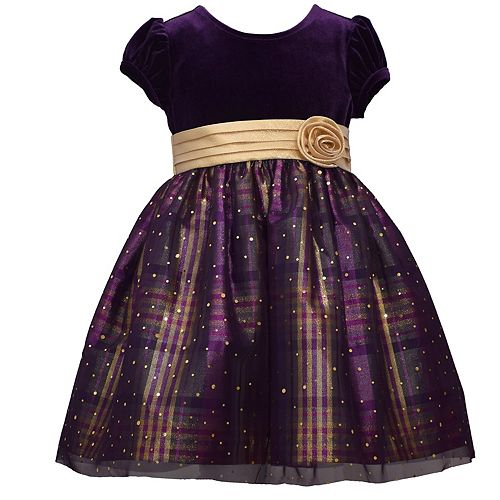 Toddler Girl Bonnie Jean Stretch Velvet and Plaid Taffeta Empire Dress
