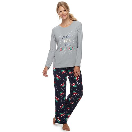 Women's Jammies For Your Families Home For The Holidays Tee & Pants Pajama Set