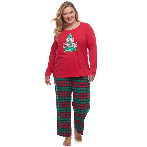 Plus Size Christmas Pajamas.Plus Size Jammies For Your Families Red Plaid Merry Christmas Family Tee Pants Pajama Set