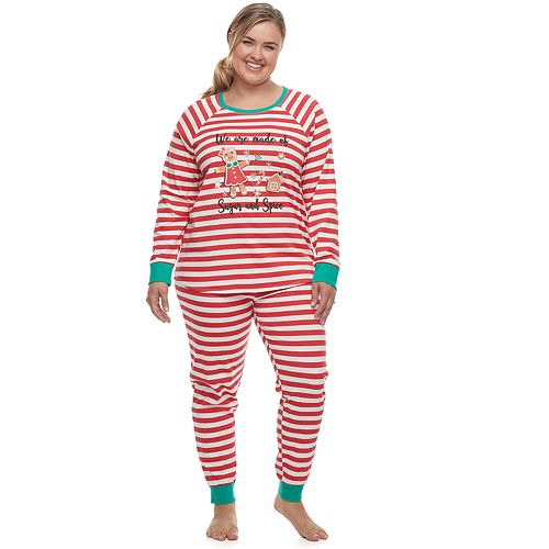 Plus Size Jammies For Your Families® Stripe Baking Top & Bottoms Pajama Set by Cuddl Duds