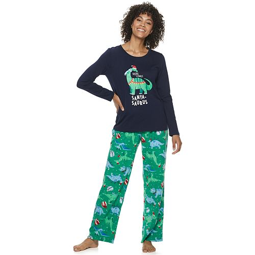 Women's Jammies For Your Families Dino Family Tee & Pants Pajama Set